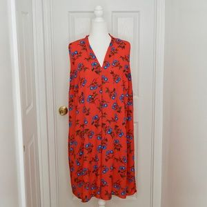 VINCE CAMUTO Red/Blue Floral Dress (Size 1X)